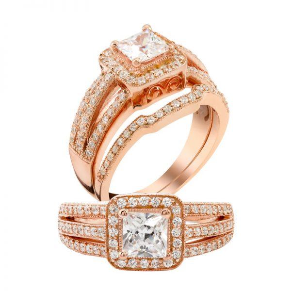 18 Kt Rose gold diamond ring and wedding ring