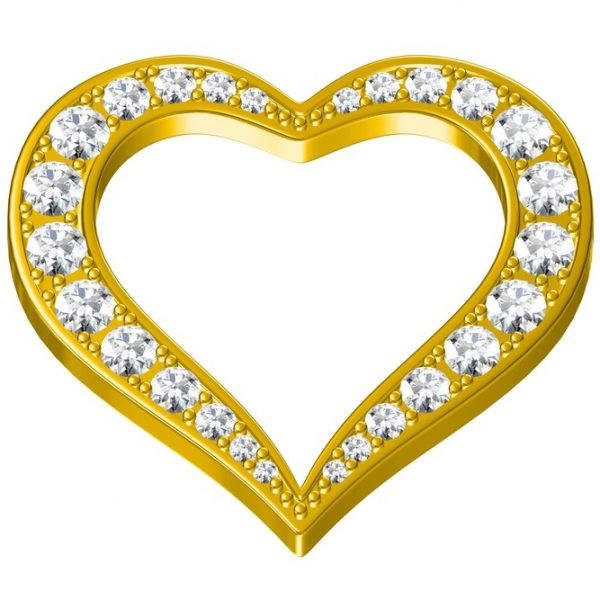 18 Kt yellow gold heart shape diamond pendant