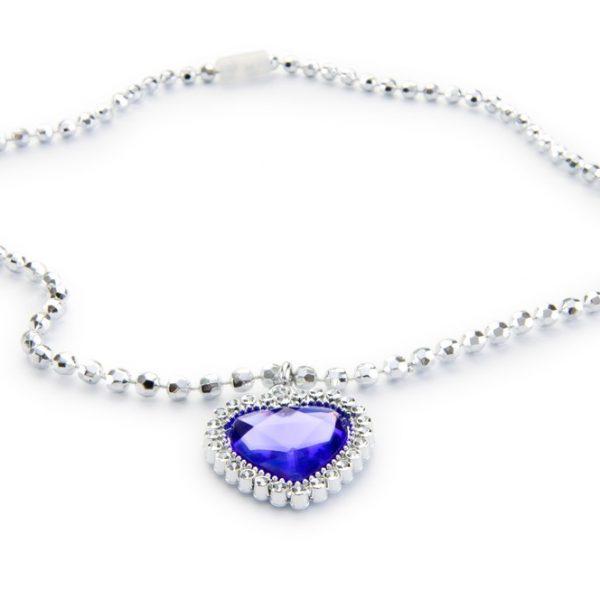 Blue sapphire heart shape diamond pendant