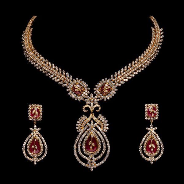 Diamond & Ruby Jewellery Necklace Set